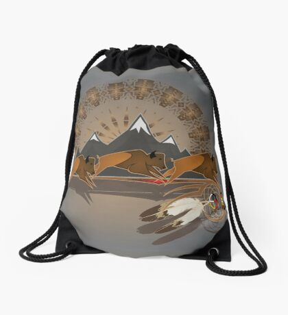 Buffalo People Drawstring Bag