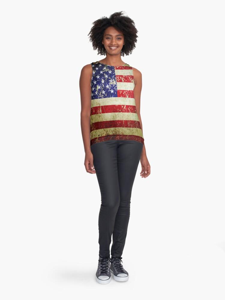 Alternate view of American Flag - Grunge Vintage Aged US Flag Sleeveless Top
