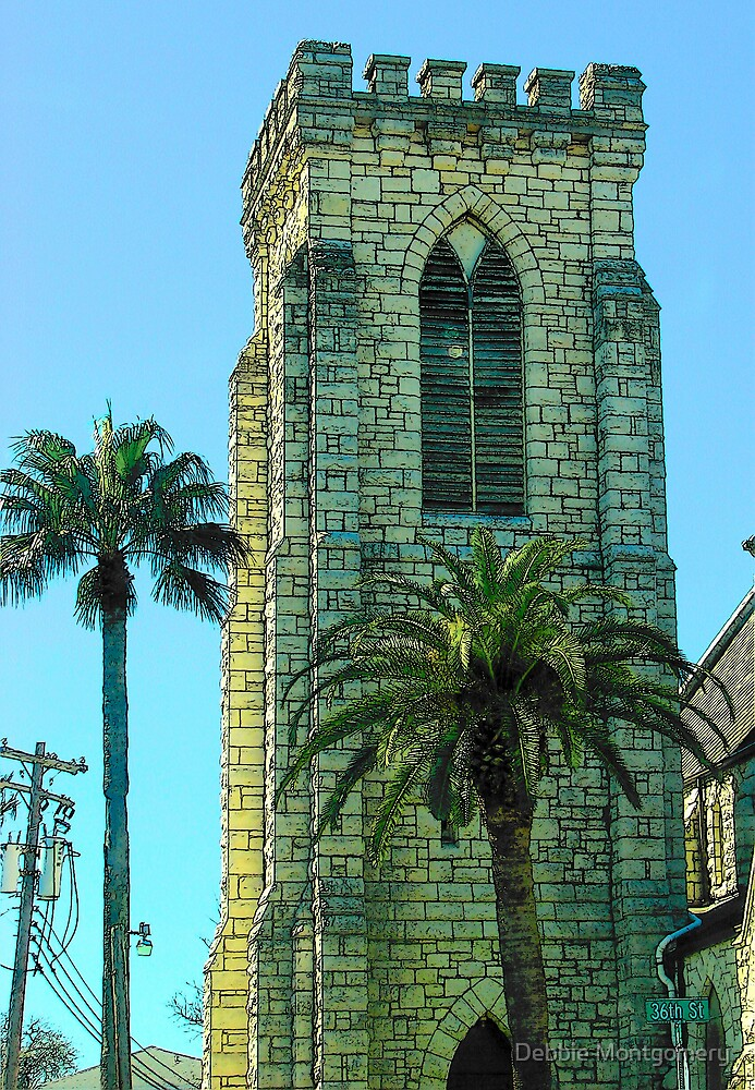 The Bell Tower of a church in Galveston, Texas by Debbie Montgomery