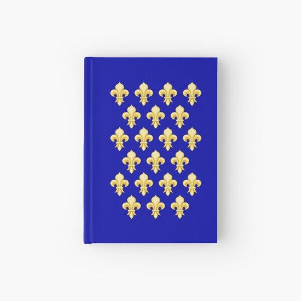 FRENCH, FRANCE, Fleur de lys, fleurs-de-lis, French heraldry pattern, Knights. Hardcover Journal