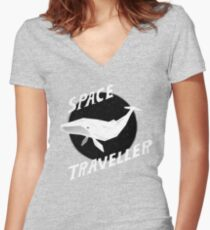 SPACE TRAVELLER Women's Fitted V-Neck T-Shirt