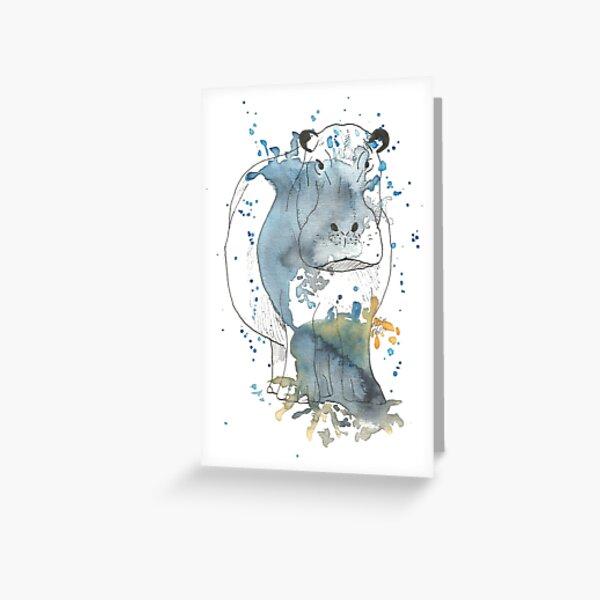 Hippopotamus - watercolor Greeting Card