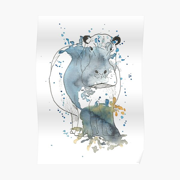 Nilpferd - Aquarell Poster