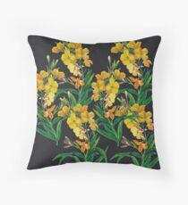 Yellow floral, botanical print Throw Pillow