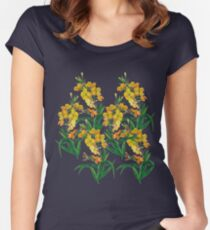 Yellow floral, botanical print Women's Fitted Scoop T-Shirt