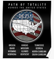 USA Eclipse 2017 - Path Of Totality Across the US Poster