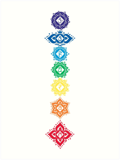 Floral Seven 7 Chakra Symbols For Yoga Art Prints By Buy Cool