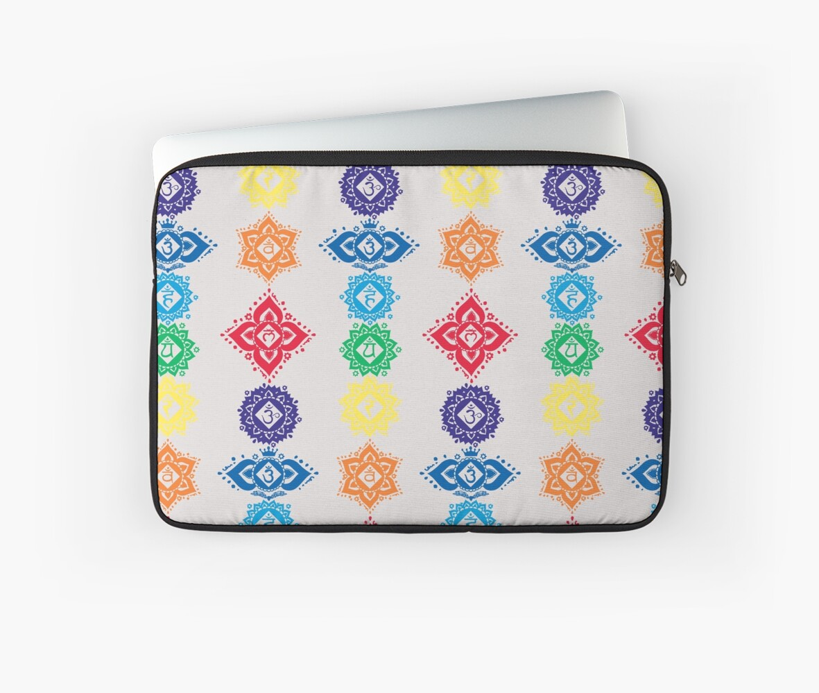 Floral Seven 7 Chakra Symbols For Yoga Laptop Sleeves By Buy Cool