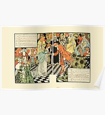 Cinderella Picture Book containing Cinderella, Puss in Boots, and Valentine and Orson Illustrated by Walter Crane 1911 22 - Now You May Go, But Return by Midnight Poster