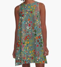 Meandering Spirals: Turquoise A-Line Dress