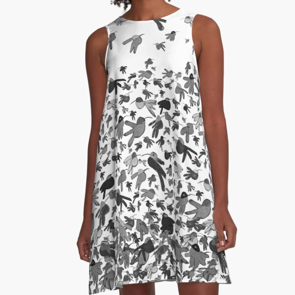 Hummingbirds - Black and White Ombre A-Line Dress