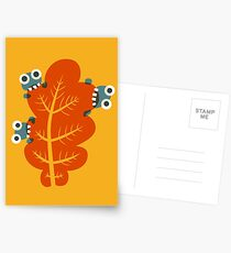 Cute Bugs Eating Autumn Leaves Postcards