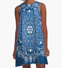 Mandala Blue A-Line Dress
