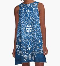 Mandala Blau A-Linien Kleid