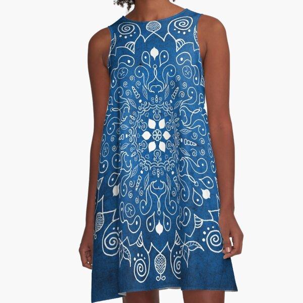 Mandala Blue A-Line Dress