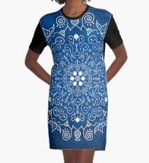 Mandala Blue Graphic T-Shirt Dress