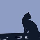 Silhouette Of A Black Cat Sitting On A Fence by taiche