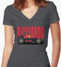 Ricciardo NO SPONSOR F1 Car Women's Fitted V-Neck T-Shirt