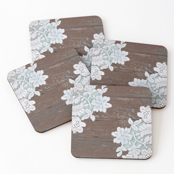 bohemian farmhouse country cottage chic barn wood lace Coasters (Set of 4)