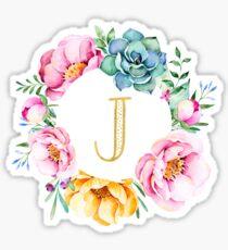 J Pink Floral Sticker