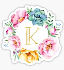 K Pink Floral Sticker
