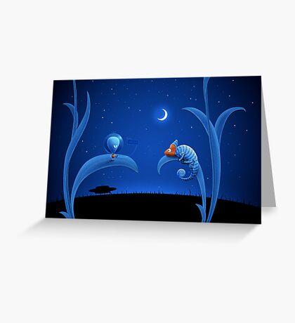 Alien and Chameleon Greeting Card