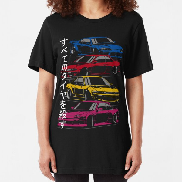 Kill all tires. Silvia S13, S14, S15 (color) Slim Fit T-Shirt