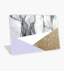 Bohemian minimalist  gold geometric lilac triangles white marble  Laptop Skin