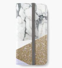 Bohemian minimalistischen gold geometrische lila Dreiecke weißer Marmor iPhone Flip-Case/Hülle/Klebefolie