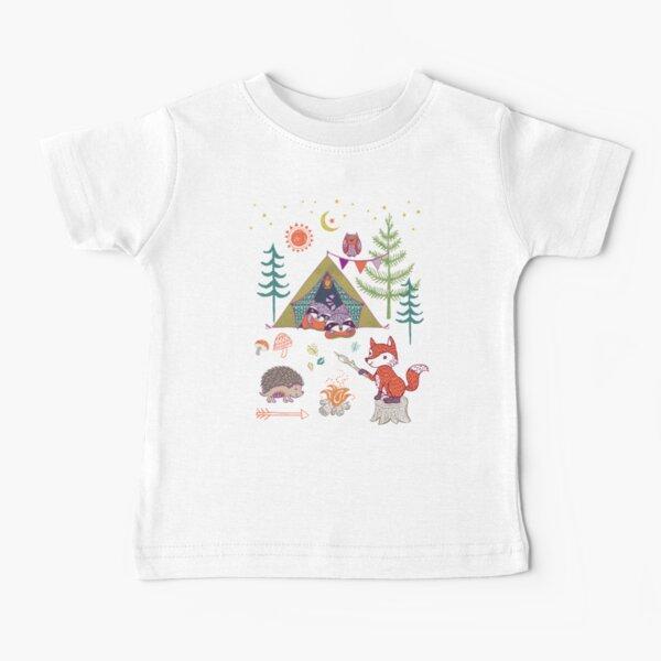 Campout de animales del bosque Camiseta para bebés