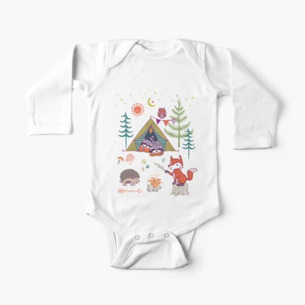 Woodland Animals Campout Long Sleeve Baby One-Piece