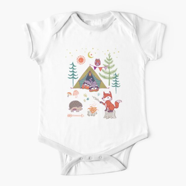 Woodland Animals Campout Short Sleeve Baby One-Piece