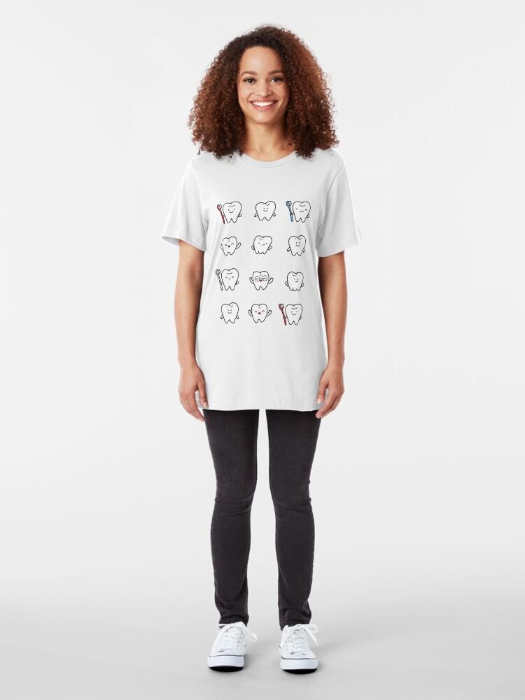 Alternate view of Funny teeth Slim Fit T-Shirt