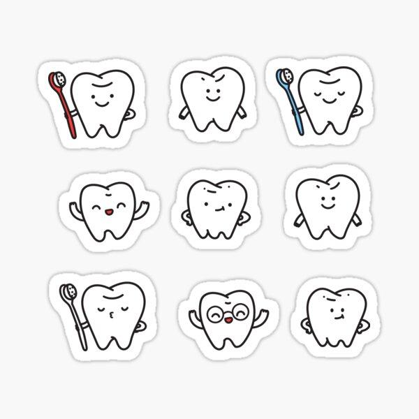 Funny teeth. Cute tooth art. Dentist pattern design. Sticker