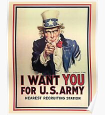 UNCLE SAM, America, American, I Want You! Uncle Sam Wants You, USA, War, Recruitment Poster Poster