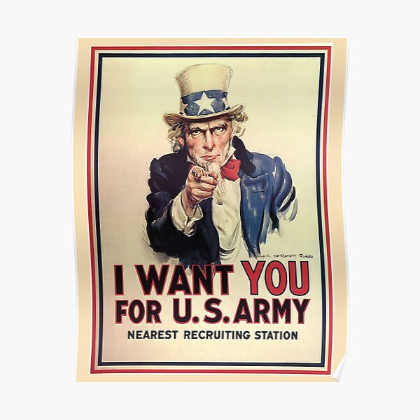 UNCLE SAM, America, American, I Want You! Uncle Sam Wants You, USA, War, Recruitment Poster. Poster