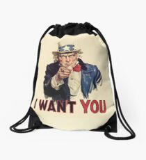 UNCLE SAM, Americana, America, I Want You! Uncle Sam Wants You. Recruitment Poster, USA, Drawstring Bag