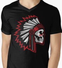 Skull with Warbonnet on black/white T-Shirt