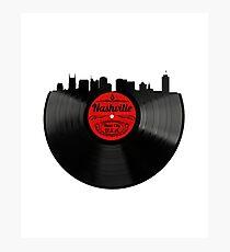 Nashville Tennessee Vintage Vinyl Record Skyline Design Photographic Print