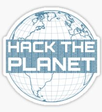 Pegatina Hack the Planet - Diseño azul para hackers informáticos
