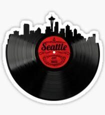 Seattle Washington Vinyl Record Skyline Design Sticker
