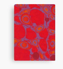 Marbled paper red lilac orange Canvas Print