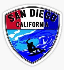 SURFING SAN DIEGO SURF CALIFORNIA SURFER'S PARADISE BEACH SURFBOARD 3 Sticker