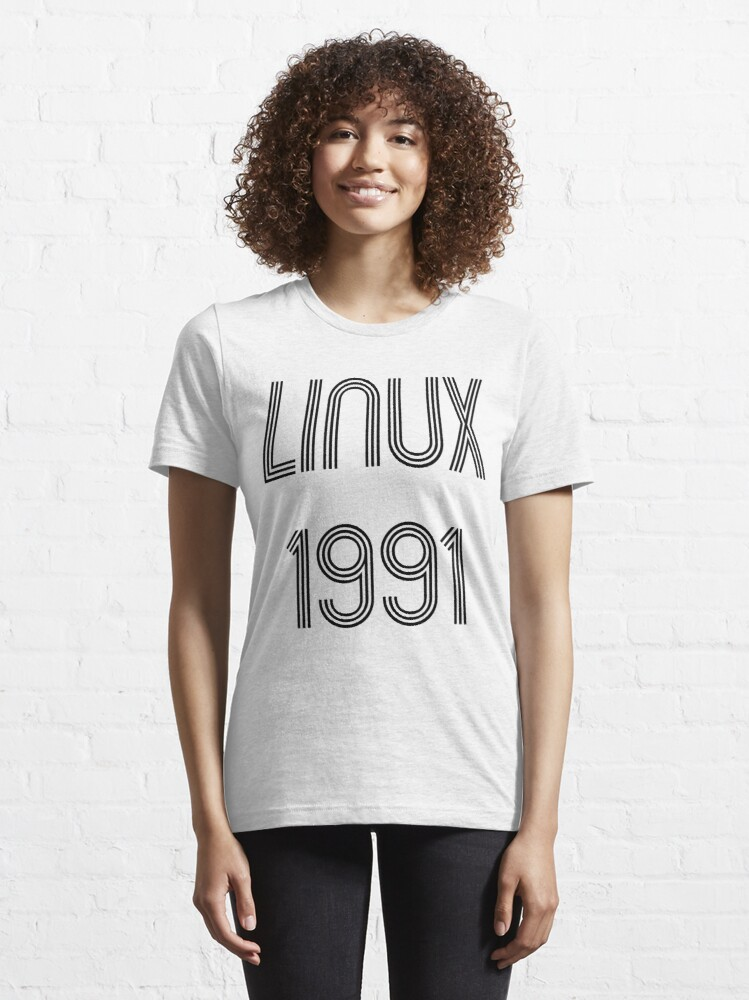 Alternate view of Linux 1991 - Initial Release Year Black Text Design Essential T-Shirt