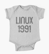 Linux 1991 - Initial Release Year Black Text Distressed Design Kids Clothes