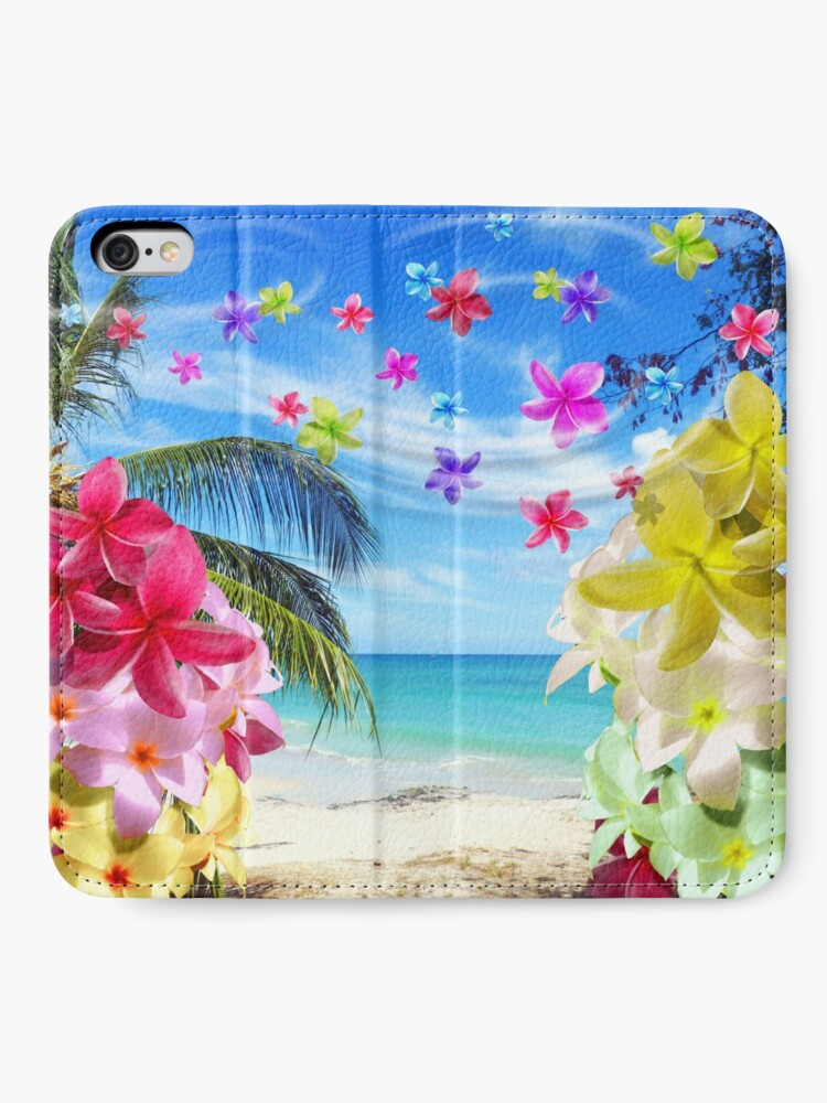 Alternate view of Tropical Beach and Exotic Plumeria Flowers iPhone Wallet