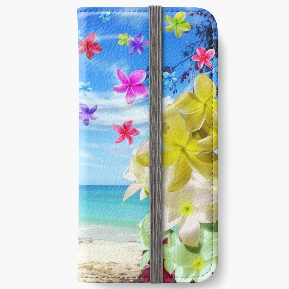 Tropical Beach and Exotic Plumeria Flowers iPhone Wallet