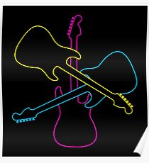 Guitars and colors Poster
