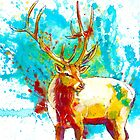 The Forest Wanderer - elk painting, original canvas art by floartstudio