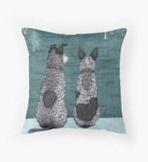 Australian Cattle Dogs, Blue Heelers (The Lookouts), by Artwork by AK Throw Pillow